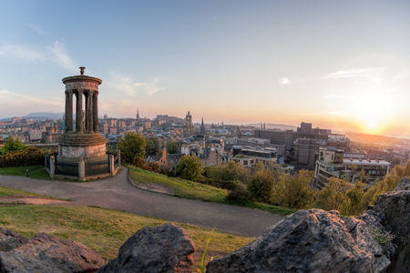 Panorama of Edinburgh against sunset with Calton Hill and castle in Scotland Reklamní fotografie - 120229658