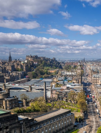 Panorama of old town Edinburgh with Princess street against castle in Scotland Reklamní fotografie - 120229654