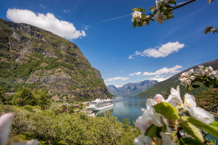 Flam village with ship in harbor against fjord during spring time, Norway 版權商用圖片