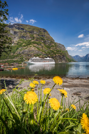 Flam village with ship in harbor against fjord during spring time, Norway Reklamní fotografie