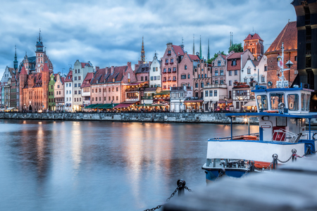 Downtown of Gdansk with boats in harbor during evening,Poland Reklamní fotografie - 121373091