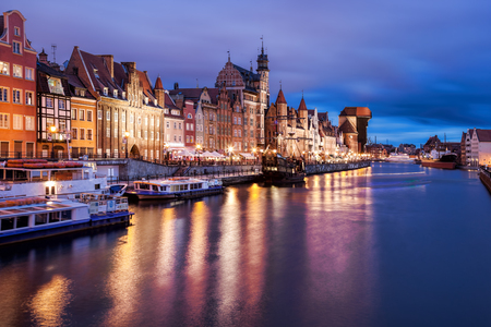 Downtown of Gdansk with boats in harbor during evening,Poland Reklamní fotografie - 121373094