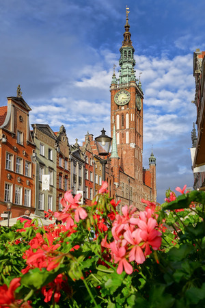 Gdansk city with town hall against flowers in Poland