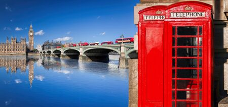 London symbols with BIG BEN, DOUBLE DECKER BUSES and Red Phone Booths in England, UK Reklamní fotografie - 129564987