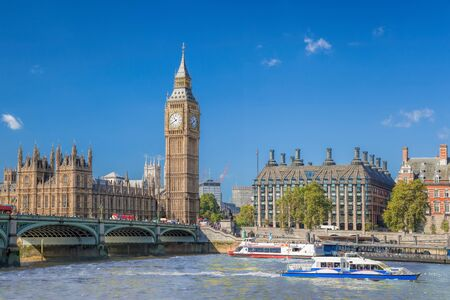 Big Ben and Houses of Parliament with boats on the river in London, England, UK