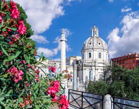 Rome with Santa Maria di Loreto church against Trajan column in Italy