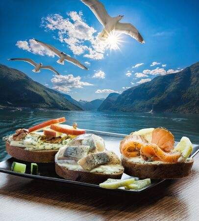 Typical Scandinavian sandwiches against fjord near the Flam village in Norway