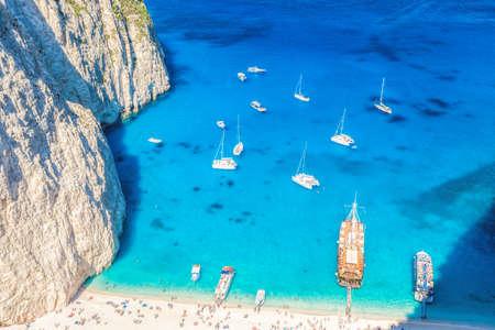 Navagio beach with boats on Zakynthos island, Greece