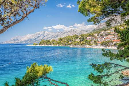 Amazing Croatian beaches with blue sky in Brela, Dalmatia, Croatia