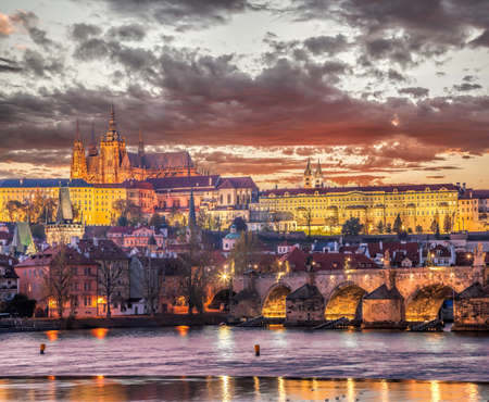 Famous old Prague city center with many top towers during atumn season in Czech Republic Editorial