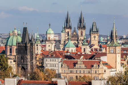 Famous old Prague city center with many top towers during atumn season in Czech Republic Редакционное