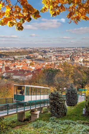 Cable car against Prague city center during autumn, Prague, Czech Republic