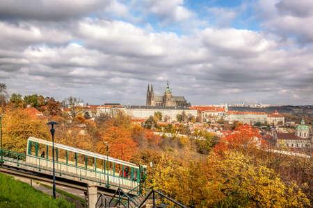 Cable car against Prague Castle during autumn, Prague, Czech Republic