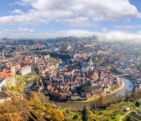 Panoramic aerial view over town center of Cesky Krumlov during autumn season in Czech Republic