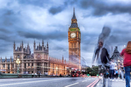 Big Ben with people on bridge in the evening, London, England, United Kingdom Reklamní fotografie