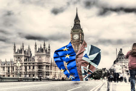 Lord Big Ben dressed in a flag of England and EU, Brexit deal or not deal with EU, United Kingdom