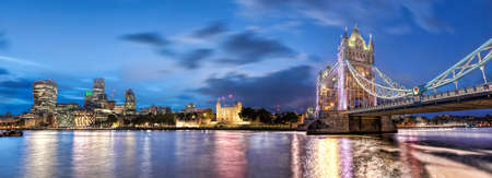 Panorama of London with Tower Bridge, Tower Hill and modern downtown in England, UK