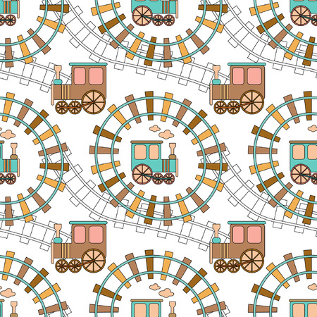 Seamless pattern with train and railroad. Vectores