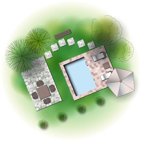 Landscape garden design Illustration