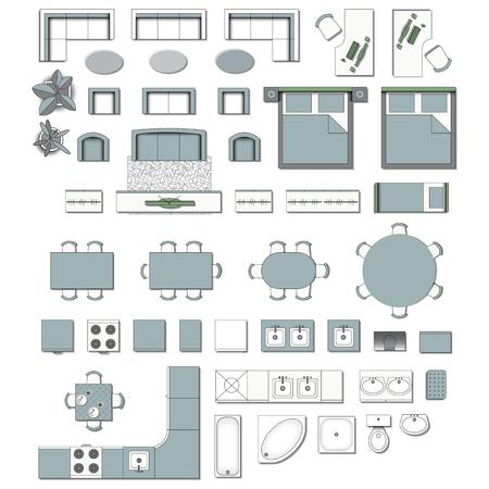 Ustaw widok z góry na projektowanie ikon wnętrz. Elementy do salonu, sypialni, kuchni, łazienki. Plan piętra. Sklep meblowy. Ilustracji wektorowych. Ilustracje wektorowe