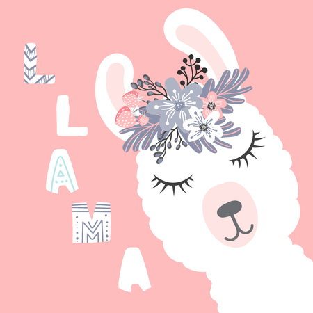 little white lama head