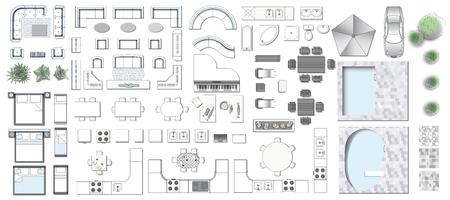 Ustaw widok z góry na projektowanie wnętrz ikona. Elementy do salonu, sypialni, kuchni, łazienki. Plan piętra. Sklep meblowy. Ilustracja wektorowa.