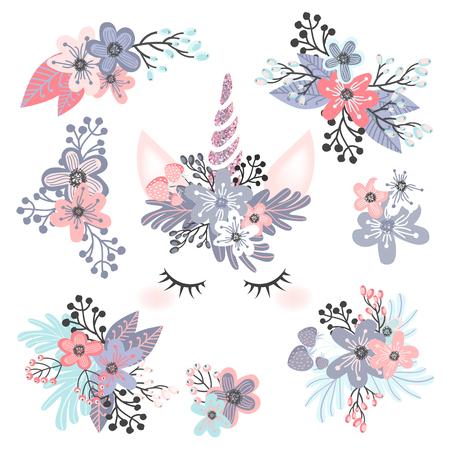 unicorn head with flower  illustration Illustration
