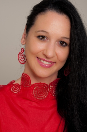 Young lady in red photo