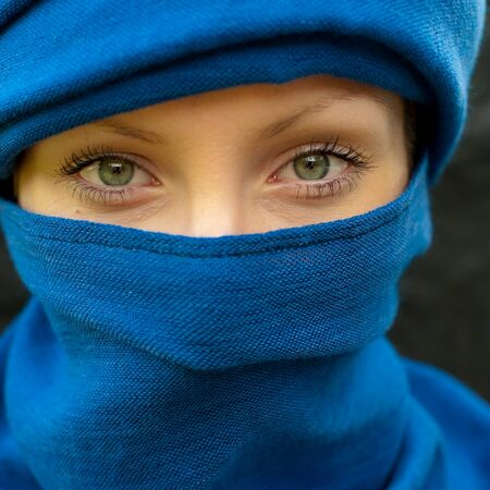 Girl with scarf photo