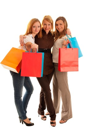 Girls with shoping bags Stock Photo