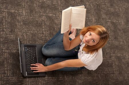 upper view of girl with laptop photo