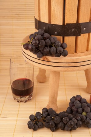 winepress: small wooden wine press for pressing grapes to produce wine