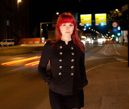 Young sexy girl on street at night Stock Photo - 9599282