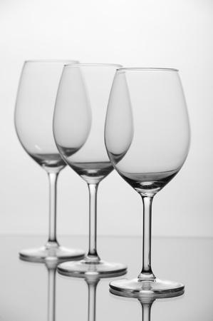 threesome: Empty wine glass Stock Photo