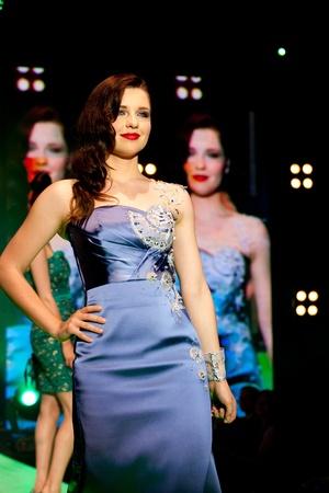 IDRIJA, SLOVENIA - JUN 18: Model Maja Keuc in Urska Drofenkis creation with idria lace on fashion show at Idrija lace festival In Idrija on June 18. The festival was held 17th to 20th June 2011 Stock Photo - 9777130