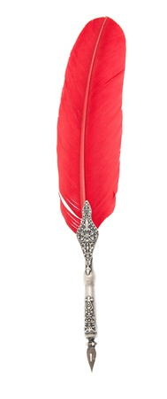 Ancient red feather for writing, over white background Archivio Fotografico