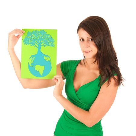 Presentation - Cute young brunette girl with a textbox in her hand Stock Photo - 10494066