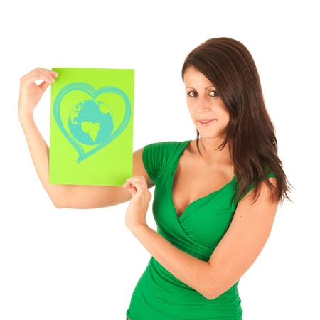 Presentation - Cute young brunette girl with a textbox in her hand Stock Photo - 10494064