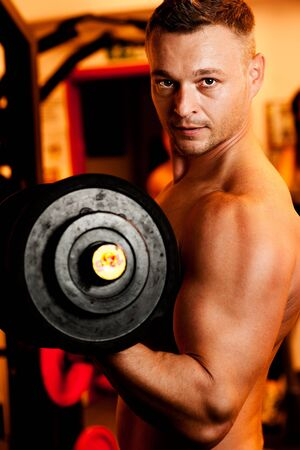 Man exercising his arm muscles by lifting two dumbell free weights in a fitness club. Stock Photo - 11811253