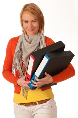attractive young girl carries file folders Stock Photo - 11811270