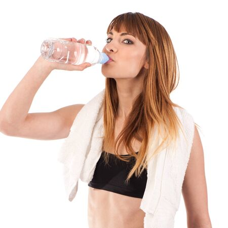 young girl Drinking water Stock Photo - 12153062