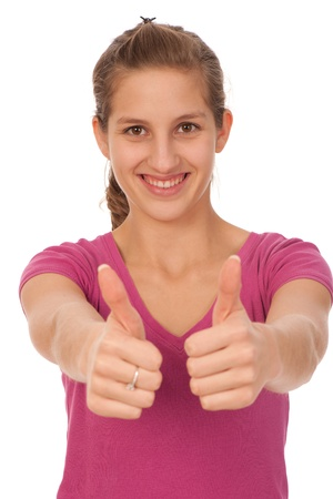 lovely teenage girl with thumbs up Stock Photo - 13077968