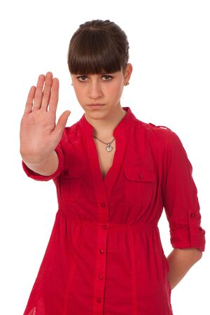 Attractive teenage girl gesturing stop sign Stock Photo - 13077964