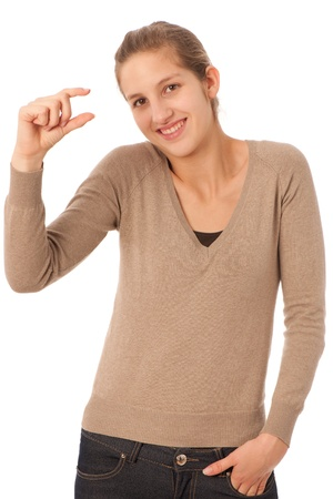 Attractive teenage girl gesturing too small