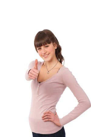 lovely teenage girl with thumbs up Stock Photo - 13077962