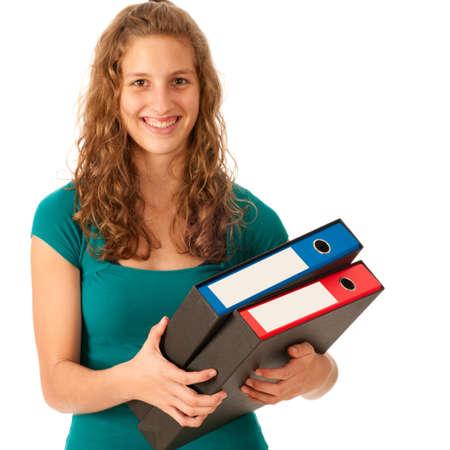 carying: Cute young girl carying folders