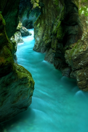 Tolminka alpine river in Slovenia, central europe Stock Photo