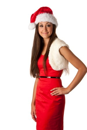 beautiful girl dressed like Santa photo