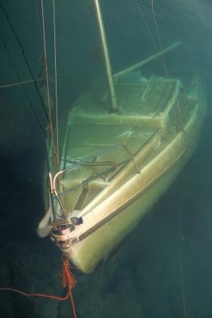 wheelhouse: Sunken boat - wreck under water