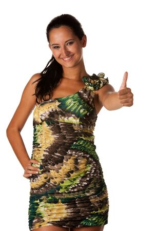 Attractive young woman showing thumb up photo